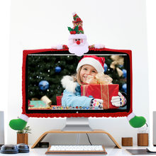 Christmas 19 to 27 inch Computer Cover TV Cover Christmas Decorations Santa Claus LED Covers Xmas Ornament Christmas Home Decor(China)