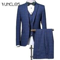 YUNCLOS Men Suit Navy Plaid Suits 2019 Latest Coat Pant Design Wedding Suits For Men 3 Pieces Business Formal Suits