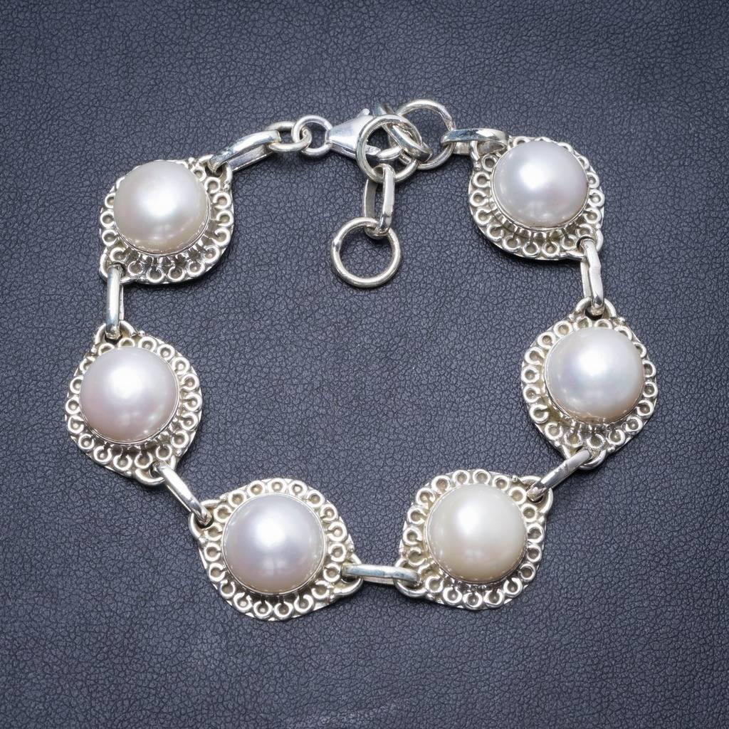 Natural River Pearl Handmade Unique 925 Sterling Silver Bracelet 7 1/4-8 1/4