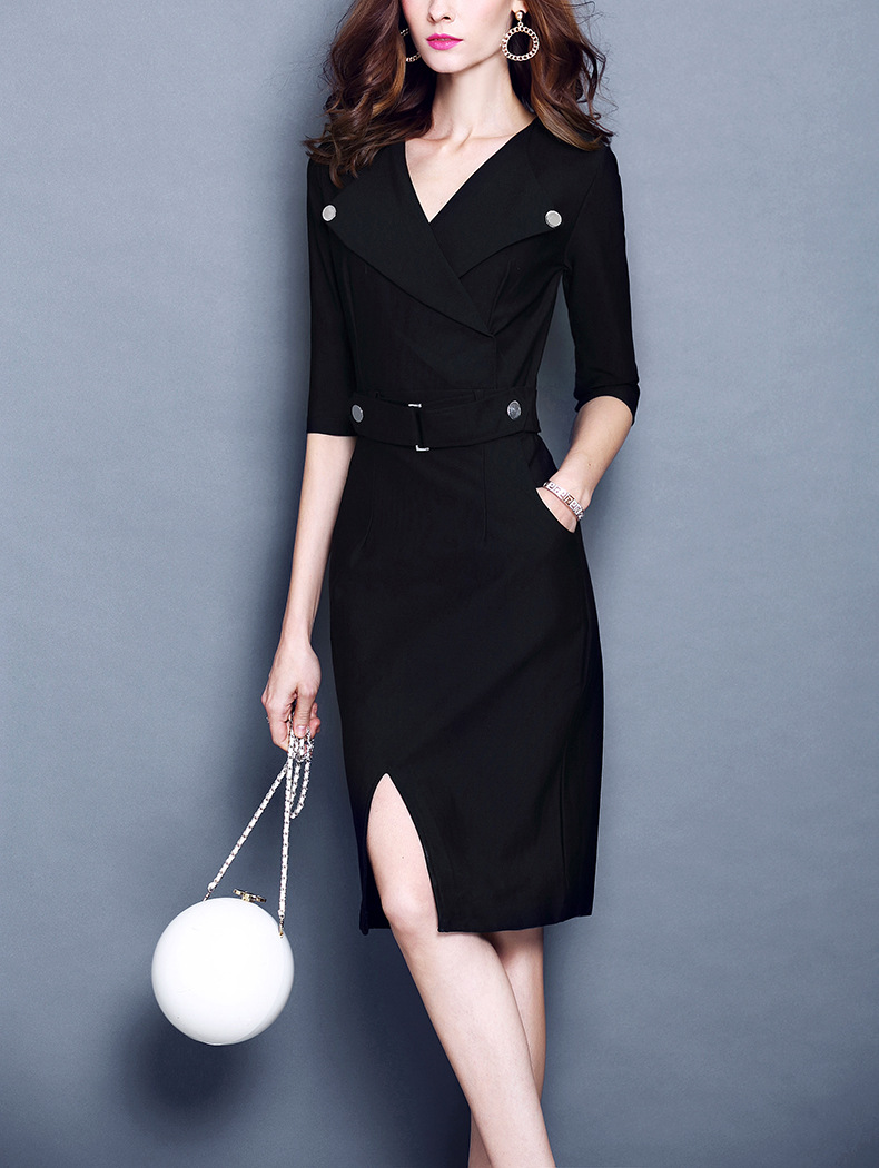 YAUAMDB women dress 2017 winter autumn size S 3XL female knee length dresses  half sleeve work clothes ladies solid dress y77-in Dresses from Women s ... bc24a353701d