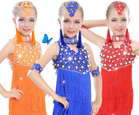Girls pearl Sequined Tassels Latin Dance Competition dress Kids Ballroom Tango Salsa Fringe costumesDress dancewear outfits