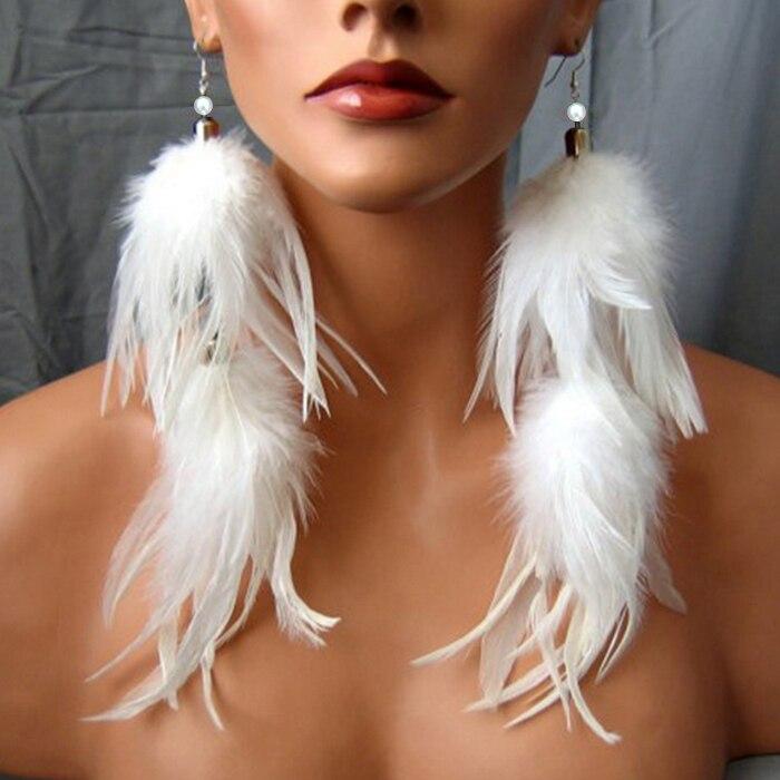 נוצה להשתלשל עגיל לנשים תכשיטי אוזן ארוכה ההיפרבולי מדומה פנינה לבן חוט הוק אוזן טרנדי תכשיטי אופנה זוג