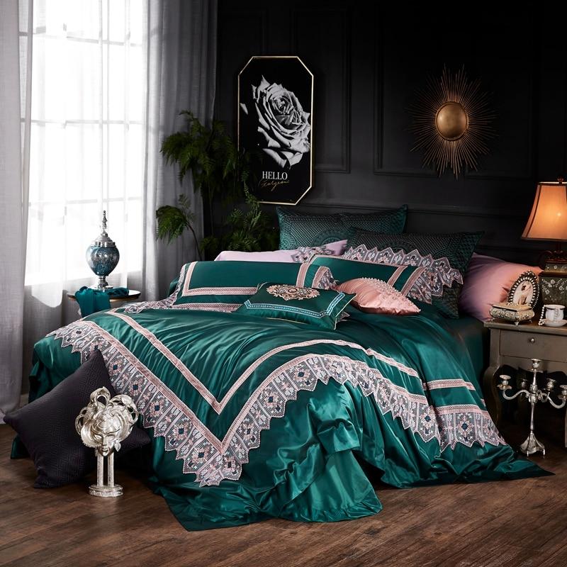 Luxury Green Blue Silk Cotton Lace European Style Palace Bedding Set Duvet Cover 100S Egyptian Cotton Bed Sheet Pillowcases 5pcs
