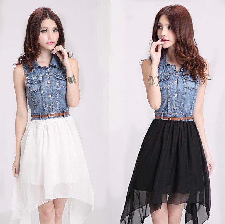 0d5d28b1966b8 2014 New Korean Version Summer Beach Dress Denim Stitching Chiffon Dress  Elegant Fairy Dress For Women