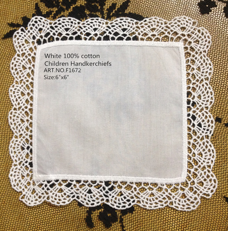 Novelty Children Handkerchiefs 36PCS/lot 15CM*15CM White Soft 100% Cotton Unisex Children Hanky Baby Hankies