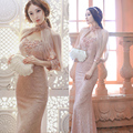 Alta calidad 2017 mujeres del verano elegante manto de encaje rebordear backless dress sexy party lápiz bodycon largo maxi dress vestidos c195