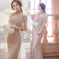 High Quality 2017 Summer Women Elegant Backless Beading Lace Cloak Dress Sexy Party Bodycon Pencil Long Maxi Dress Vestidos C195
