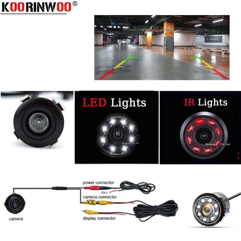Koorinwoo ยูนิเวอร์แซหมัดที่มองไม่เห็นอินฟราเรด Night Vision รถยนต์กล้องมองหลังไฟ LED อินฟราเรดที่จอดรถช่วยย้อนกลับเวบแคม
