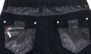 Image 5 - เกาหลีสไตล์ cool fashion punk กางเกงหนังซิปสีดำสีแน่น skenny Plus ขนาด 33 34 36 Rock กางเกง