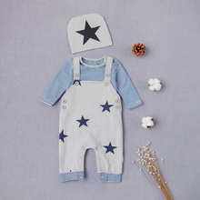 YiErYing Newborn Clothes Sets Spring Autumn 3Pc Long Sleeves Stars Print Leisure Cotton Hat+Coat+Belt Pants Baby Clothing Suits