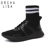 ORCHA LISA Sock Boots Flat Stretch Fabric Ankle Hosiery Boots Genuine Leather inside Lace up Boots for Women Botas Feminina J307