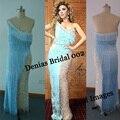 Myriam Fares sin tirantes Tassles perlas largo Illusion Real Sexy celebridad de la tarde vestidos vestidos vestidos
