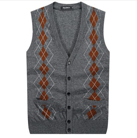 New Arrival Men's Sweater Vest Button Down Cardigan Knit Vest Wool ...