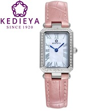 KEDIEYA Watches Women Switzerland Ronda Quartz Watch Rectangle Zircons Diamond Pearl Dial Waterproof Womens Watches Pink Gift