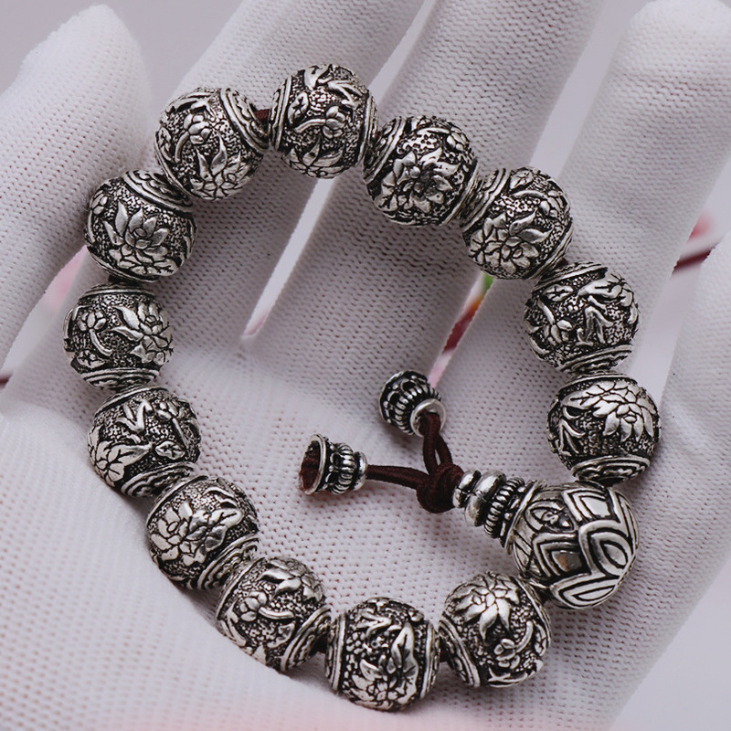 2019 Time limited Armbanden Voor Vrouwen Vintage 990 Sterling Series Lotus Do Old Thai Bracelet Wholesale Buddhist Art Fan Yin
