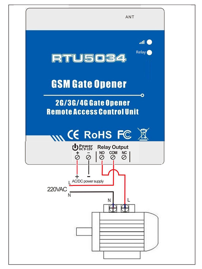RTU5034 GSM Gate opener Wiring connection with pump