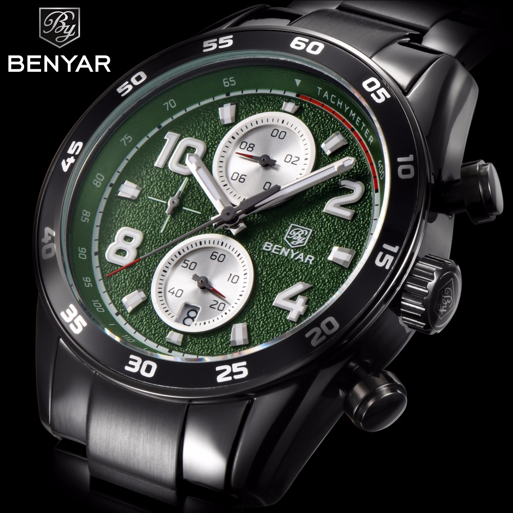 BENYAR Business Quartz Watch Men Stainless Steel Waterproof Military Mens Watches Top Brand Luxury Clock Man relogio masculino migeer relogio masculino luxury business wrist watches men top brand roman numerals stainless steel quartz watch mens clock zer