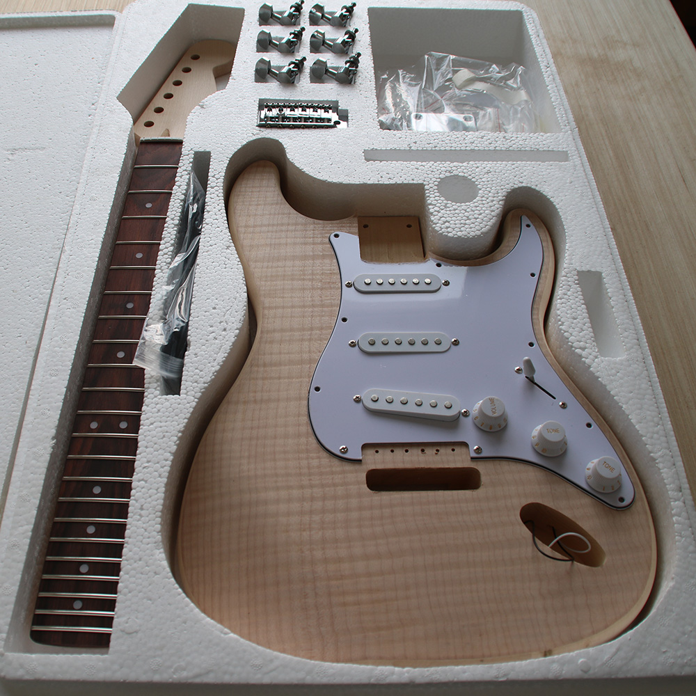 ST Style Electric Guitar DIY Kit Set Guitarra Durable Basswood Body Maple Fingerboard Maple Neck With Guitar Accessories купить