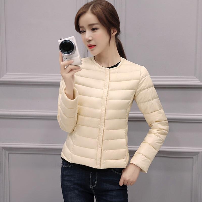 O Femmes Lumière Canard Vers Femelle Printemps Blanc Manteau Vestes Court cou De Ultra Outwear Manteaux Le Bas Mince Duvet Nouveau Hiver q8TxrwI04x