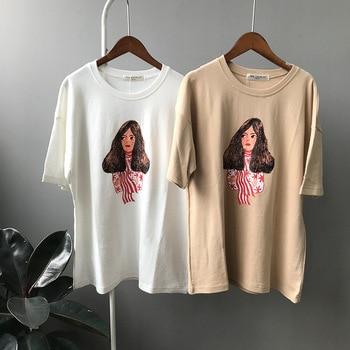 2018 nueva primavera coreano Academia patrón Impresión de manga corta Camiseta  mujer algodón suelta marea ocio 557 141288c0ac9
