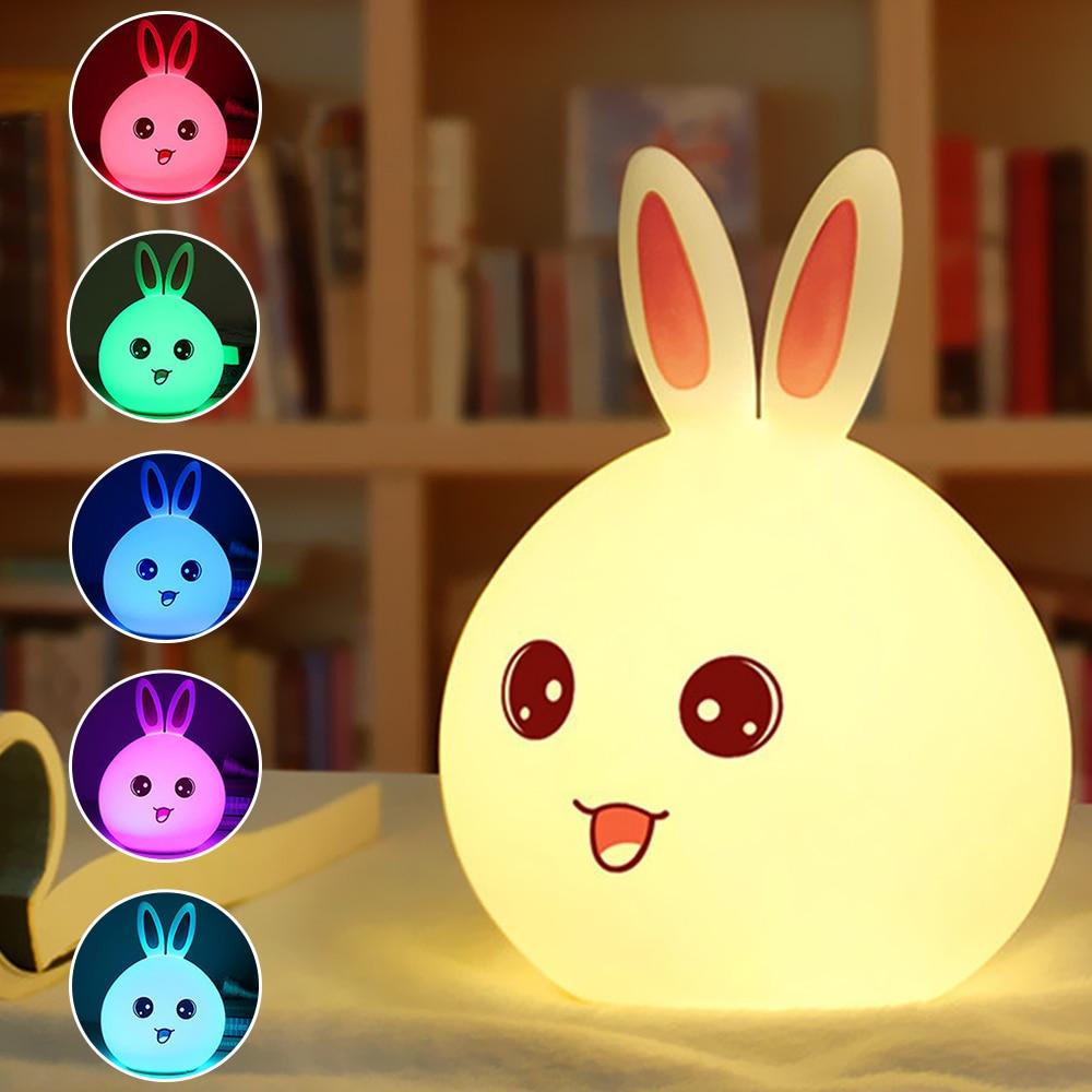 2017 New Arrival Creative Animal Model Energy Saving Rechargeable USB Lovely Rabbit Silicone LED Night Light Room Decoration vasos sanitários coloridos