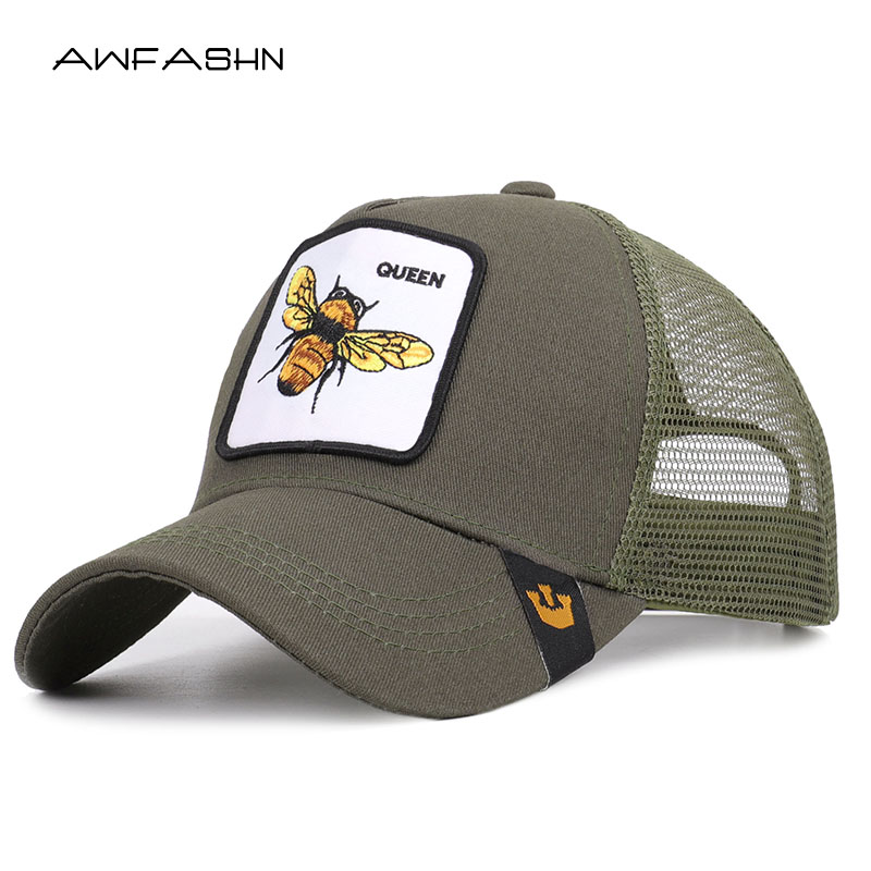 New High Quality Spring Summer Mesh   Baseball     Cap   Women Men Fashion Animal Embroidery Casual Hat Adjustable Sport Snapback Bone