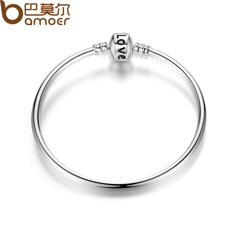 BAMOER Classic Snake-clasp with LOVE Stamp DIY Bangle for Beads & Charms Women Jewelry 3 Size PA9009