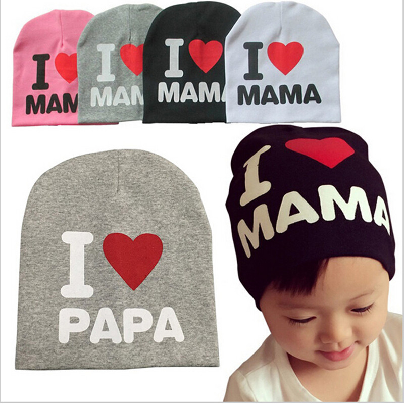 TONGMAO 2018 Spring Autumn Baby Knitted Warm Cotton Beanie Hat For Toddler Baby Kids Girl Boy I LOVE PAPA MAMA Print Baby Hats