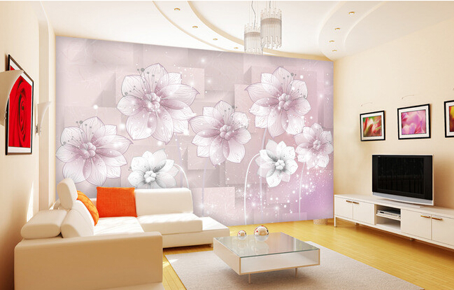 Custom 3D wallpaper romantic fantasy flowers and squares for the living room bedroom TV background wall