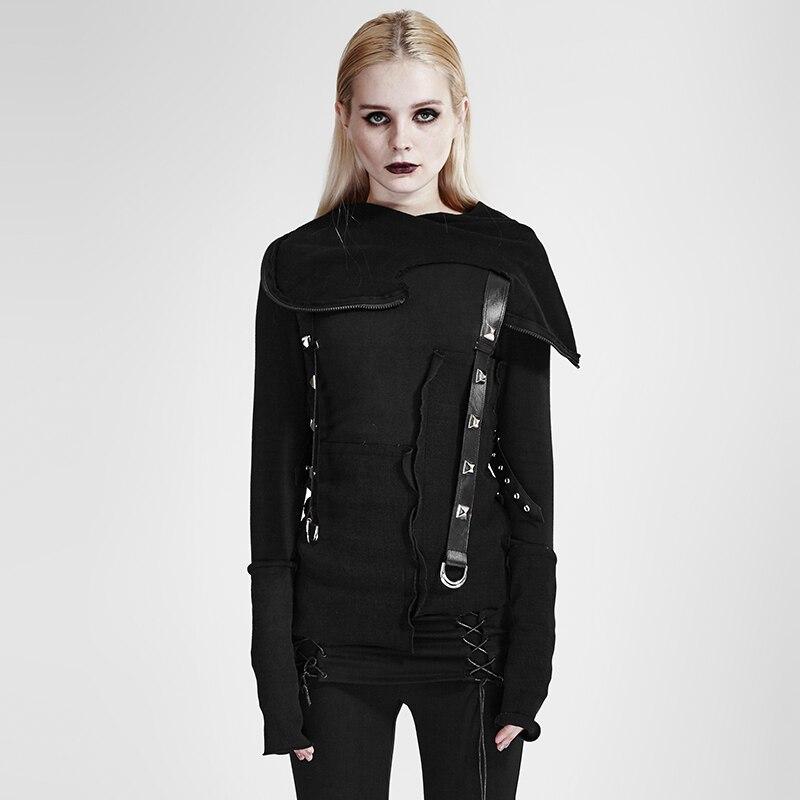Punk Street décadent fil couture plus couches tricoté chandail avec capuche Goth foncé Ninja Cardigans femmes noir chandail hauts