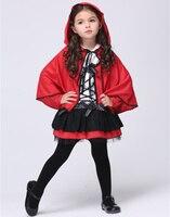 크리스마스 어린이 빨간 망토 코스프레 빨간 망토 할로윈 키즈 도트 리본 Bowknot 의상 여자 레이스 댄스 드레