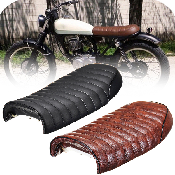 Vintage Motorcycle Seat Cushion for Honda/Suzuki/Yamaha Black Brown Leatherette Cafe Racer Hump Universal Retro Saddle Seat 2017 universal cafe racer seat brown hump stitching vintage motorcycle saddle asiento sitz siege selle silla sedile cg quality