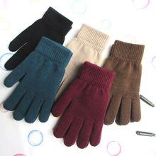 Зимние вязаные перчатки в рубчик для женщин и мужчин, унисекс, универсальные Утепленные перчатки с плюшевой подкладкой, волшебные теплые перчатки для запястья