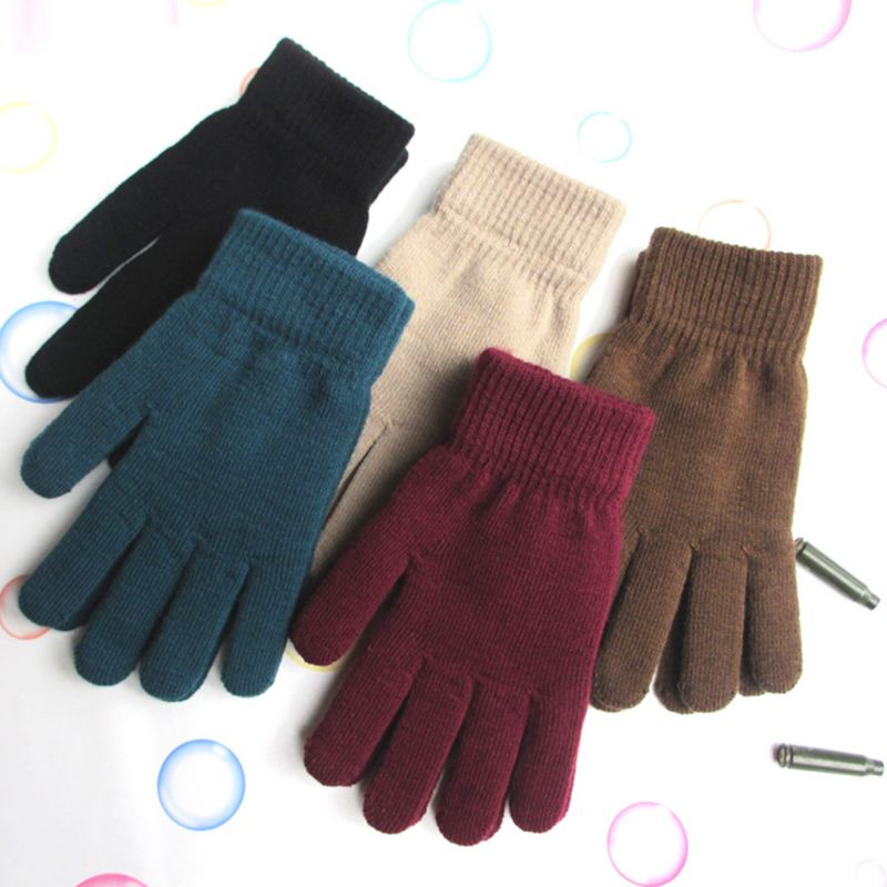 Women Men Unisex Winter Ribbed Knitted Full Fingered Gloves Basic Thicken Plush Lining Mittens Magic Thermal Wrist Warmer