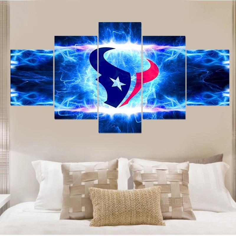 Garden Decor Houston: Houston Texans Art Poster Modern 5 Panels Living Room