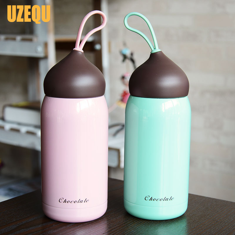 UzeQu Mini 200ml 300ml Chocolate Thermoses Cup Kids Insulated Bottles Tasse Vaccum Milk Coffee Mug Stainless