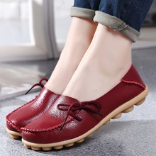 Genuine leather flat shoes 2018 new fashion soft lace-up women shoes peas non-slip outdoor casual ladies loafers shoes woman