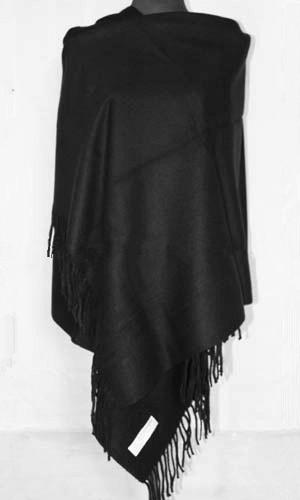 Envío Gratis Negro de Acrílico de la Mujer Estilo de Moda Pashmina Borlas Del Mantón de Color Sólido Del Cabo de Gran Tamaño 172x68 m WS068