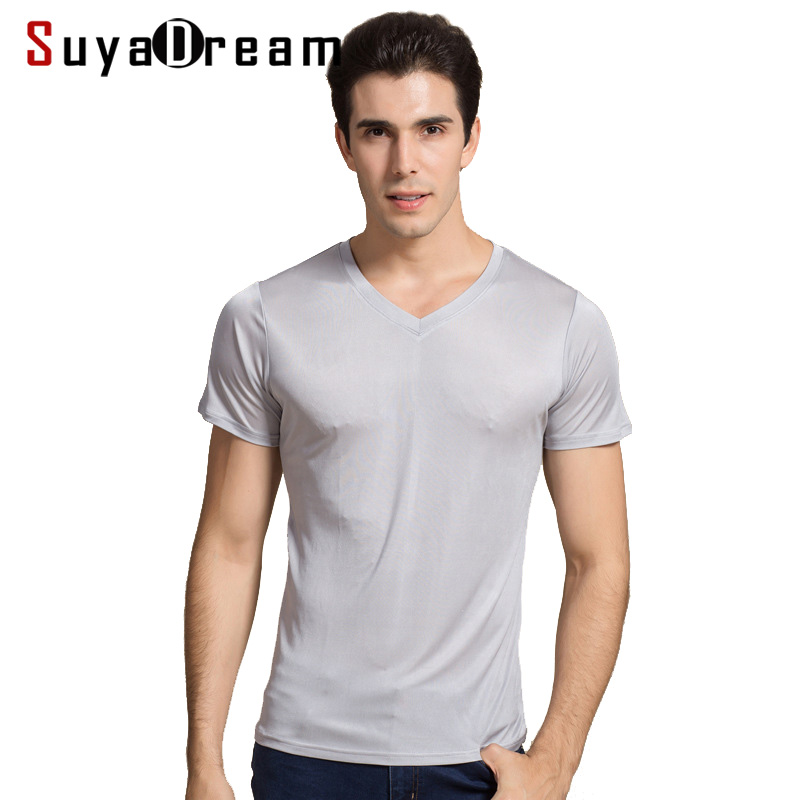 Men basic   T     shirt   100%Natural Silk V neck Solid   shirt   Short Sleeve top Mens silk top White Black Grey 2018 New Spring Summer