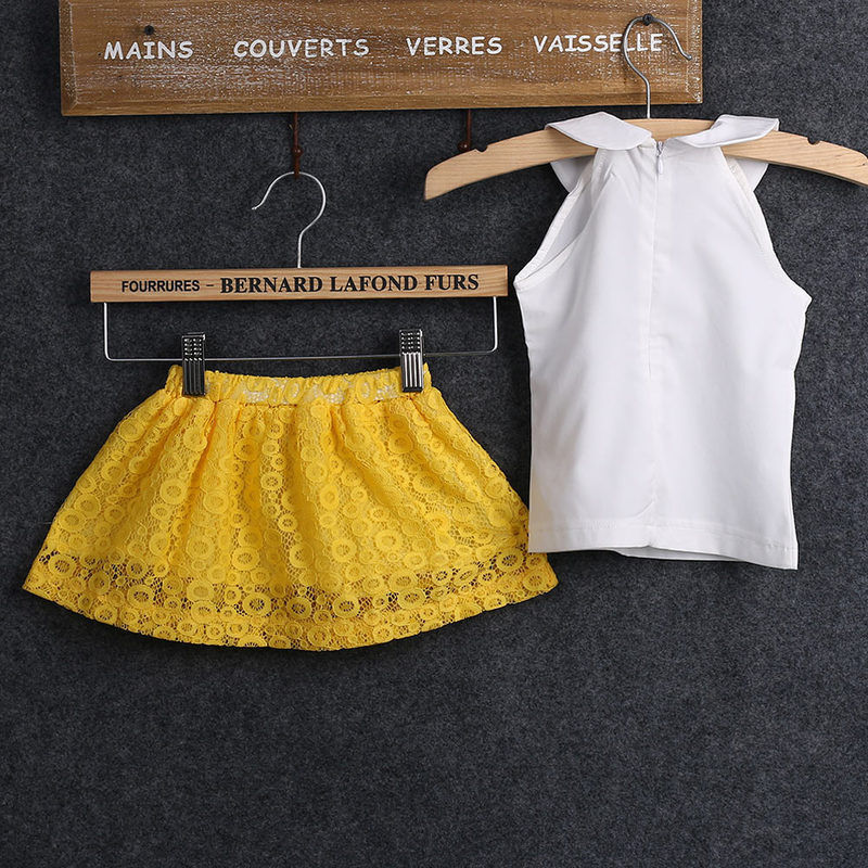 Baby Girl Clothes Set 2017 Hot 2-7Y Summer Kids Baby Girls princess Sleeveless Tops+Lace Mini Skirt Outfits Girls Clothing Sets perfecta готовальня studio цвет прозрачный