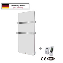 Electric Infrared Heater 600W Bathroom Glass Radiator with Two Towel Rails Germany Stock