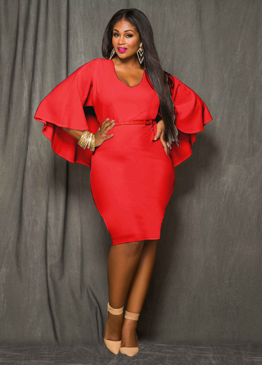 red dresses for plus size women