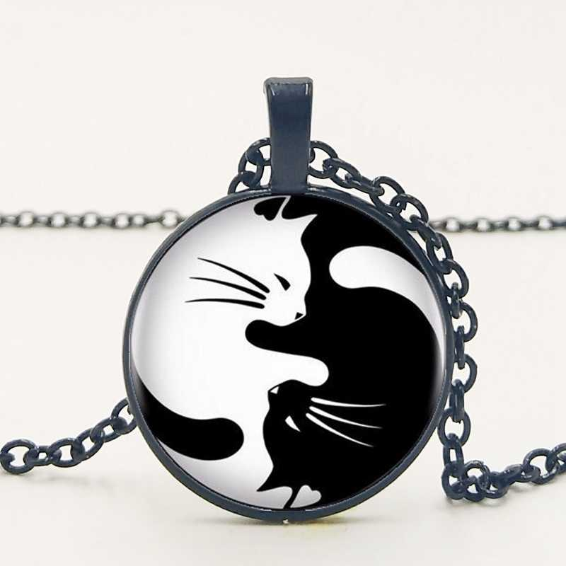 אופנה בציר רטרו שני חתול שרשרת זכוכית תליון יין יאנג חתול דגי שרשרת אופנה גברים של שרשרת פרטי ההזמנה