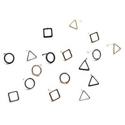 Модный джокер контракт циркулярных с размытым геометрическим рисунком треугольники серьги-гвоздики для панков обувь для мужчин и женщин серьги-гвоздики