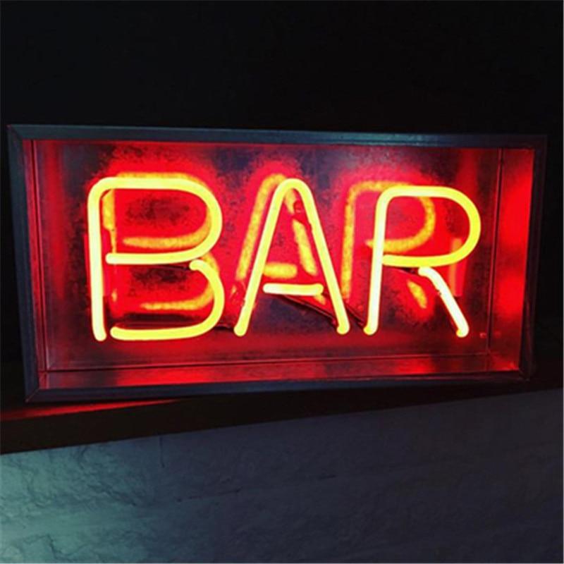 Nouveau métal boîte salon Bar néon signe Tube lumière vrai verre Tube artisanat KTV Pub lampe personnalisée lampe éclairage AC 220 V 230 V 110 V