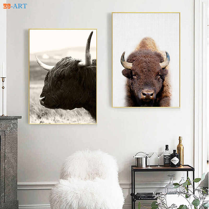 Nordic Farmhouse Highland Cow Print Modern Boho Nursery Decor Bohemian Wall Art Scottish Canvas Painting Bedroom Framed