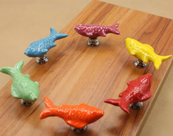 1pc Colorful Fish Knobs Ceramic Drawer Knob Pulls Kids Dresser Handle Pull Kitchen Cabinet Pulls Door Knob Child Blue Green in Cabinet Pulls from Home Improvement