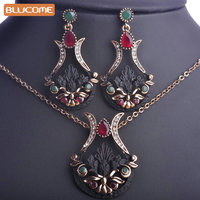 Blucome Turkish Jewelry Sets For Women Resin Antique Gold Vintage Parure Bijoux Ruby Flower Necklace Pendant