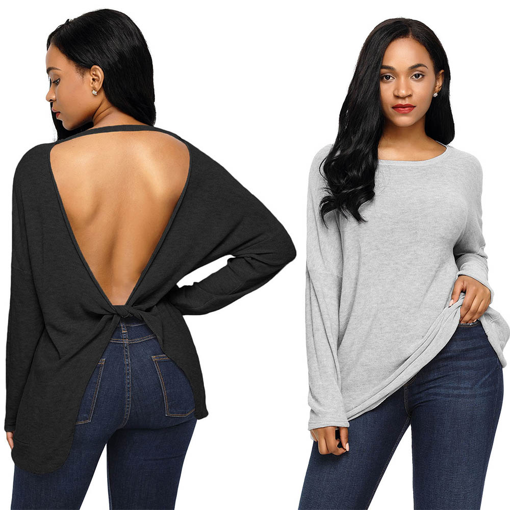 MQUPIN Large Size Sexy Backless Twisted Long Sleeve Round Neck Women's Sweater for Women Autumn Winter Warm Top Female  Pullover