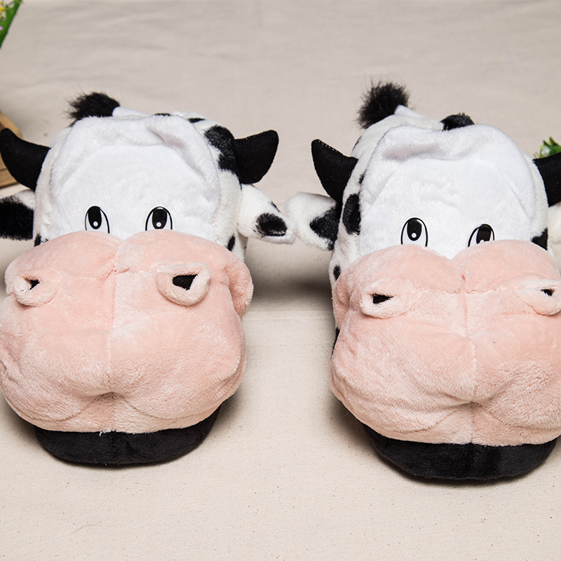 new winter men women home slippers cotton cute cartoon cow shoes indoor slippers winter Custom home shoes 1